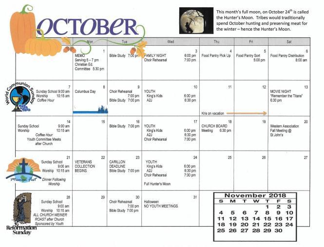oct2018 calendar